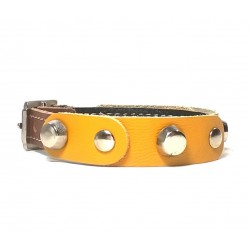 Leather Bracelet with Fancy Yellow Leather Pieces and Rivets