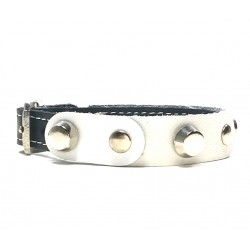 Leather Bracelet with Fancy White Leather Pieces and Rivets