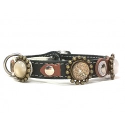 Leather Cat Collar with beautiful Natural Colors and Stones