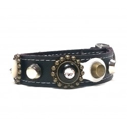 Luxury Designer Leather Bracelet with Swarovski Stones