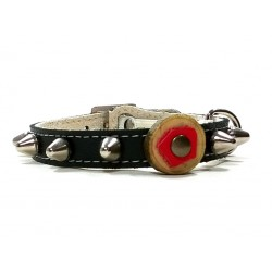 Leather Cat Collar with Studs - Studded Spikes and Olive Wood