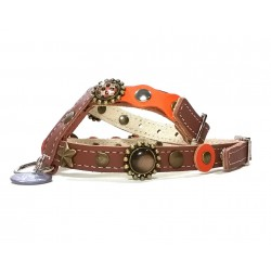 Luxury Orange and Brown Leather Harness for small Dogs and Chihuahuas