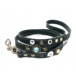 Designer Leather Lead with Stones and Moon Shape Leather Patches