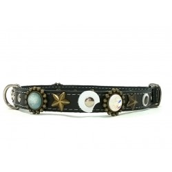 Designer Dog Collar with Stones and Moon Shape Leather Patches