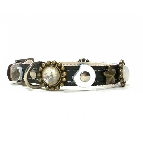 Designer Greyhound Collar with Stones and Moon Shape Leather Patches