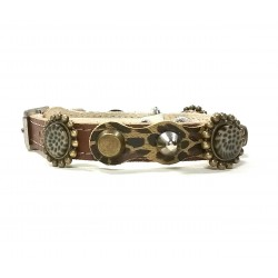 Pretty Leopard Design Leather Studded Cat Collar