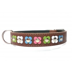 Trendy Leather Dog Collar with Pastel Colour Flowers