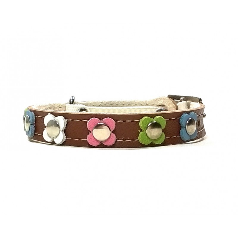 9a54ff296c584 Trendy Leather Cat Collar with Pastel Colour Flowers