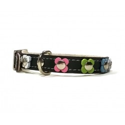 Trendy Leather Cat Collar with Pastel Colour Flowers