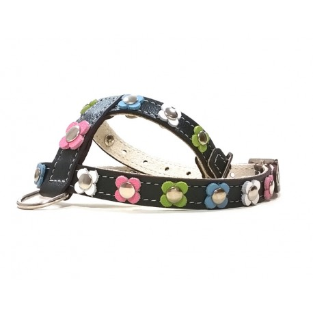 Trendy Leather Dog Harness with Pastel Colour Flowers
