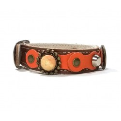 Luxury Brown Leather Bracelet with Orange Decoration