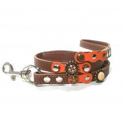 Luxury Orange and Brown Leather Dog Leash