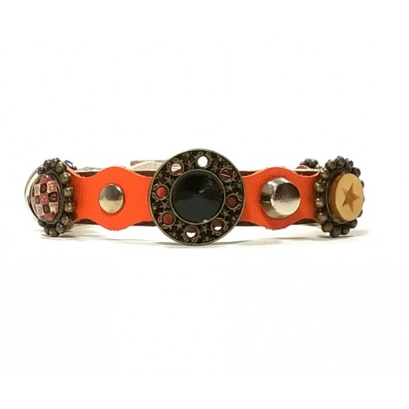 Luxury Orange and Brown Leather Collar for Cats