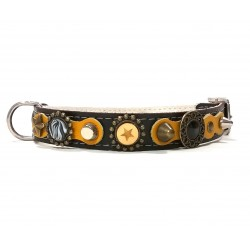 Luxury Yellow and Black Leather Collar for Medium Size Dogs
