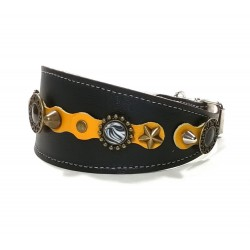 Luxury Yellow Black Wide Leather Collar for Greyhound