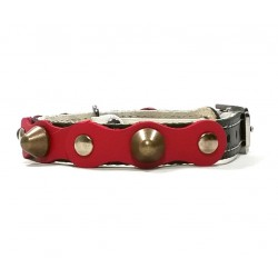 Safety Cat Collar Simple but Cool Design of Red Black Leather with Spikes