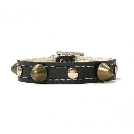 Black Leather Bracelet Simple and Robust with Spikes