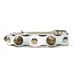 Safety Cat Collar Simple but Cool Design of Black Silver Leather with Spikes