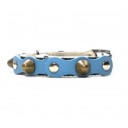 Safety Cat Collar Simple but Cool Design of Light Blue Black Leather with Spikes