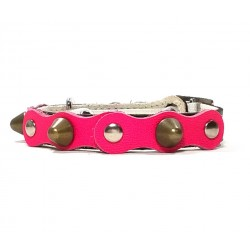 Safety Cat Collar Simple but Cool Design of Fuchsia Black Leather with Spikes