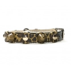 Safety Leather Cat Collar Simple but Cool Leopard Design with Spikes