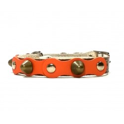 Safety Cat Collar Simple but Cool Design of Orange Brown Leather with Spikes