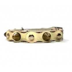 Safety Cat Collar Simple but Cool Design Gold and Brown Leather with Spikes