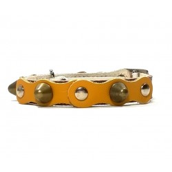 Safety Cat Collar Simple but Cool Design of Yellow Brown Leather with Spikes
