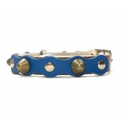 Safety Cat Collar Simple but Cool Design Blue Braun Leather with Spikes