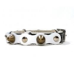 Safety Cat Collar Simple but Cool Design of Black White Leather with Spikes