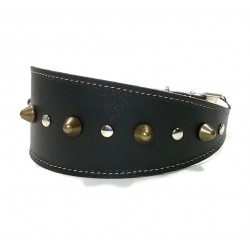 Wide Black Leather Dog Collar with Spikes Simple but Cool Design