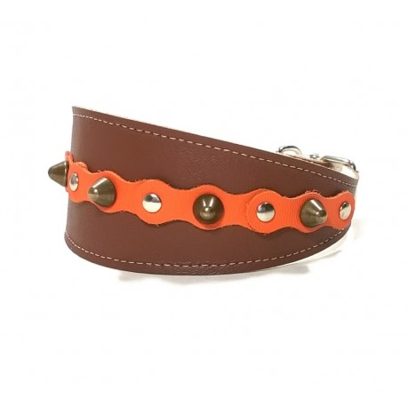 Brown Wide Leather Dog Collar with Spikes Simple but Cool Design