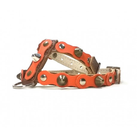 Brown Leather Dog Harness with Spikes Simple but Cool Design