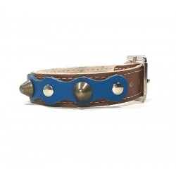 Brown Leather Bracelet Simple and Robust with Spikes