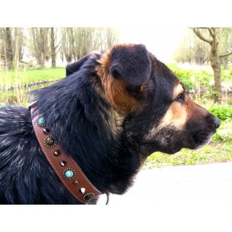 This is Silke showing her new Superpipapo Bohemian Style Dog Collar