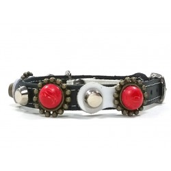 Leather Rivets Cat Collar Design with Red Polaris coral stones