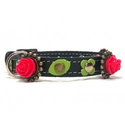 Black Leather Cat Collar with beautiful Red Roses and sweet Green leaves