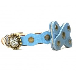 Cat Collar with Bow Tie from Blue Leather en Mandala Stones