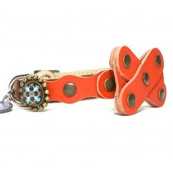 Cat Collar with Bow Tie from Orange Leather and Mandala Stones