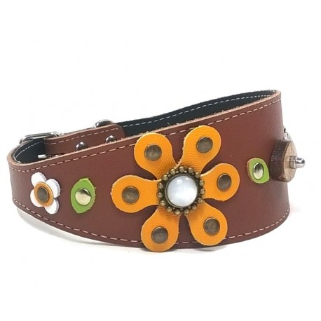 Original Wide Brown Leather Greyhound Collar with a Big Sunflower
