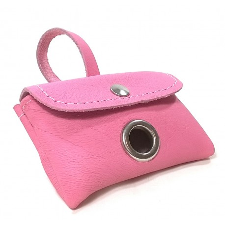 Elegant Dog Poop Dispenser, Waste Bag Holder for Leash, Pink Leather
