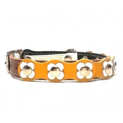 Beautiful and Unique Flower Power Cat Collar with yellow and white Leather patches