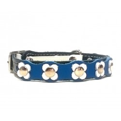 Beautiful and Unique Flower Power Cat Collar with blue and white Leather patches