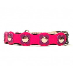 Flower-Power Cat Collar with Pink and Purple Leather