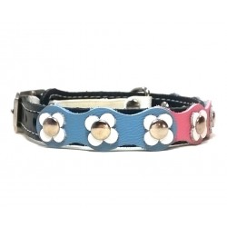Flower-Power Cat Collar with Pink Blue and White Leather