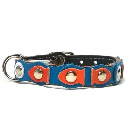 Pretty and very Original Cat Collar with Goldfish and blue Leather Waves