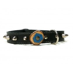 Leather Dog Collar with Studs - Round Studded Spikes and Olive Wood