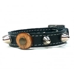 Leather Bracelet with Studs - Round Studded Spikes and Olive Wood