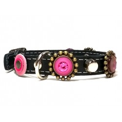 Luxury Cat Collar with Bling Pink and Purple Leather and Strass Stones