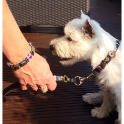 Luna and her owner from Germany that show the Dog Collar with leash and matching Bracelet